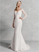 cheap Wedding Dresses-Mermaid / Trumpet V Neck Sweep / Brush Train Lace / Satin / Tulle Made-To-Measure Wedding Dresses with Lace by LAN TING BRIDE® / Beautiful Back