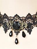 hesapli Gelin Şalları-Vintage Gotik Steampunk Siyah Eski Tip Dantel Kolye gerdanlık Dantel Kostümler
