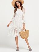 זול שמלות נשים-לבן גיזרה גבוהה עד הברך סגנון אמנותי, צבע אחיד - שמלה ישרה בגדי ריקוד נשים / תחרה / קיץ