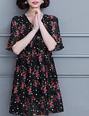 tanie Sukienki-Damskie Vintage Puszysta Bawełna Spodnie - Solidne kolory Czarno-biały, Pofałdowany Czarny / Rekaw z falbanami