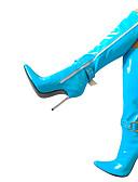 رخيصةأون ثوب-للمرأة أحذية PU شتاء جزمات موضة كتب كعب ستيلتو حذاء براس مدبب جزمات طول الركبة أزرق / زهري / أزرق فاتح
