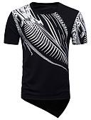 abordables Camisetas y Tops de Hombre-Hombre Activo / Básico Discoteca Camiseta, Escote en Pico Geométrico Negro L / Manga Corta / Largo
