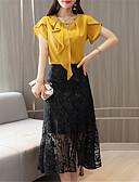 tanie Sukienki w rozmiarach plus-Damskie Bluzka Solidne kolory Spódnica / Koronka