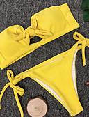tanie Bikini i odzież kąpielowa 2017-Damskie Podstawowy Bandeau (opaska na biust) Bez ramiączek Bikini Solidne kolory Dół typu Cheeky / Seksowny
