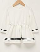 hesapli Kız Çocuk Kıyafet Setleri-Toddler Genç Kız Günlük Hafta sonu Çizgili Zıt Renkli Fırfırlı Uzun Kollu Diz üstü Elbise Beyaz / Pamuklu / Sevimli