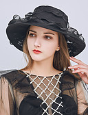 cheap Women's Dresses-Women's Party / Holiday Bucket Hat / Floppy Hat - Solid Colored Beaded / Ruffle / Mesh