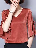billige BH'er-V-hals Bluse Dame - Ensfarget / flare Sleeve