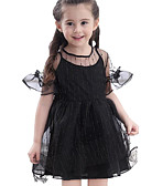 baratos Vestidos para Meninas-Infantil Bébé Para Meninas Listrado Manga Curta Vestido