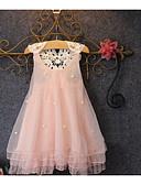 Χαμηλού Κόστους Βρεφικά φορέματα-Παιδιά Κοριτσίστικα Καθημερινά Μονόχρωμο Δίχτυ Αμάνικο Ως το Γόνατο Βαμβάκι Φόρεμα Ανθισμένο Ροζ / Χαριτωμένο