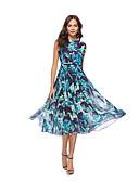 tanie Sukienki-Damskie Boho / Moda miejska Spodnie - Kwiaty / Geometric Shape Siateczka / Frędzel / Haft Wysoka talia Granatowy / Plaża / Nadruk