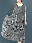 cheap Women's Dresses-Women's Plus Size Work Sophisticated / Street chic Loose Swing Dress - Houndstooth / Paisley Black & White Maxi
