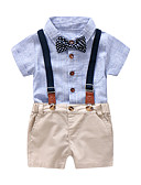 cheap Baby Girls' Clothing Sets-Baby Boys' Blue & White Solid Colored / Striped / Color Block Short Sleeve Clothing Set