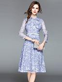 tanie Sukienki-Damskie Święto / Wyjściowe Vintage / Wyrafinowany styl Linia A / Swing Sukienka - Solidne kolory, Koronka / Łuk Kołnierz stawiany Midi / Wiosna