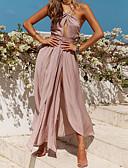 baratos Vestidos Femininos-Mulheres Básico / Boho Chifon Vestido - Frente Única, Sólido Longo / Assimétrico