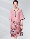 cheap Women's Dresses-Women's Shift Dress - Solid Colored / Floral V Neck