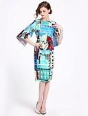 abordables Vestidos de Mujer-Mujer Básico Chic de Calle Corte Swing Vestido Floral Midi