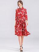 ieftine Rochii de Damă-Pentru femei Mărime Plus Size Zvelt Pantaloni - Floral Roșu-aprins / Guler Cămașă