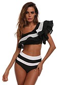cheap Bikinis-Women's Basic Boho Off Shoulder Black Red Wrap High Waist Tankini Swimwear - Color Block Black & Red Black & White Ruffle M L XL Black / Sexy