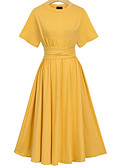 cheap Women's Belt-Women's Plus Size Cotton A Line Dress - Solid Colored / Summer