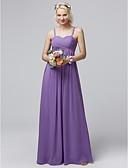 cheap Bridesmaid Dresses-Sheath / Column Spaghetti Strap Floor Length Chiffon Bridesmaid Dress with Criss Cross by LAN TING BRIDE® / Open Back