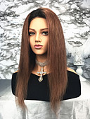 cheap Mother of the Bride Dresses-Remy Human Hair Lace Front Wig Brazilian Hair Straight Ombre Wig 130% Density Ombre Women's Long Human Hair Lace Wig