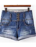 tanie Damskie spodnie-Damskie Aktywny Bawełna Jeansy / Szorty Spodnie - Patchwork, Solidne kolory Wysoka talia / Lato