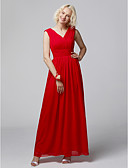 cheap Bridesmaid Dresses-A-Line Straps Floor Length Chiffon Bridesmaid Dress with Criss Cross by LAN TING BRIDE®