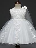halpa Tyttöjen mekot-Vauva Tyttöjen Vintage Bile / Syntymäpäivä Yhtenäinen Hihaton Polvipituinen Puuvilla / Polyesteri Mekko Valkoinen