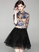 זול חליפות שני חלקים לנשים-מעל הברך דפוס שמלה גזרת A / נדן בסיסי / סגנון סיני בגדי ריקוד נשים
