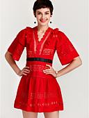 tanie Sukienki-Damskie Spodnie - Solidne kolory Czerwony, Koronka / Falbana Biały / Mini / Głęboki dekolt w serek / Wyjściowe