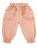tanie Spodnie dla niemowląt-Dziecko Dla dziewczynek Podstawowy Codzienny Solidne kolory Z marszczeniami Bawełna / Poliester Spodnie Rumiany róż / Brzdąc