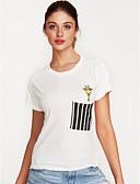 baratos Camisetas Femininas-Mulheres Camiseta Estampado Algodão
