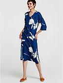 cheap Women's Dresses-Women's Going out Cotton A Line Dress Blue, Print Maxi
