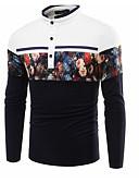 זול חולצות לגברים-קולור בלוק רזה עסקים / בסיסי כותנה, טישרט - בגדי ריקוד גברים / שרוול ארוך