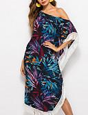 cheap Vintage Dresses-Women's Boho Swing Dress - Floral Tropical Leaf, Tassel