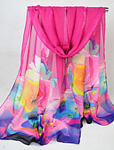 cheap Women's Scarves-Women's Chiffon Rectangle - Floral / Color Block / Rainbow Mesh / All Seasons