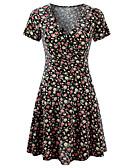 baratos Vestidos Estampados-Mulheres Básico / Boho Delgado Calças - Floral Estampado Preto / Decote V / Mini / Praia