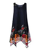 cheap Women's Dresses-Women's A Line Dress - Floral Asymmetrical V Neck