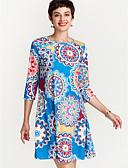 זול שמלות נשים-בגדי ריקוד נשים בסיסי משוחרר מכנסיים - פרחוני כחול נייבי