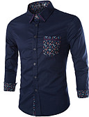 ieftine Tricou Bărbați-Bărbați Cămașă Afacere / De Bază - Geometric Imprimeu