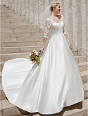 baratos Vestidos de Casamento-Linha A Scoop pescoço Cauda Corte Cetim Vestidos de casamento feitos à medida com Apliques de LAN TING BRIDE® / Transparências