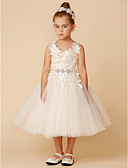 cheap Flower Girl Dresses-Princess Tea Length Flower Girl Dress - Lace / Tulle Sleeveless Spaghetti Strap with Crystal / Lace / Sashes / Ribbons by LAN TING BRIDE®
