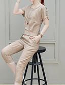 economico Completi due pezzi da donna-Per donna Essenziale / Stoffe orientali Set - Spacco, A strisce Pantalone