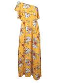 cheap Maxi Dresses-Women's Going out Maxi Swing Dress High Waist One Shoulder Yellow M L XL