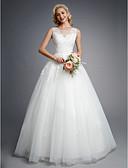 preiswerte Hochzeitskleider-Ballkleid Schmuck Boden-Länge Spitze / Tüll Maßgeschneiderte Brautkleider mit Perlenstickerei / Applikationen durch LAN TING BRIDE®