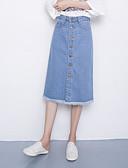 tanie Damska spódnica-Damskie Jeans Linia A Spódnice - Wyjściowe Solidne kolory Wysoka talia