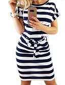 baratos Camisas Femininas-Mulheres Para Noite Básico Delgado Camiseta Vestido Listrado Altura dos Joelhos / Verão