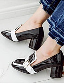 cheap Women's Blouses-Women's Shoes Patent Leather Fall Comfort Heels Chunky Heel Closed Toe White / Black