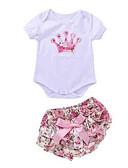 Χαμηλού Κόστους Βρεφικά φορέματα-Μωρό Κοριτσίστικα Ενεργό Καθημερινά Φλοράλ Κοντομάνικο Κανονικό Πολυεστέρας Σετ Ρούχων Ανθισμένο Ροζ