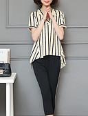 ieftine Costum Damă Două Bucăți-Pentru femei Mărime Plus Size Sofisticat Larg Bluză - Mată / Dungi, Pantaloni În V